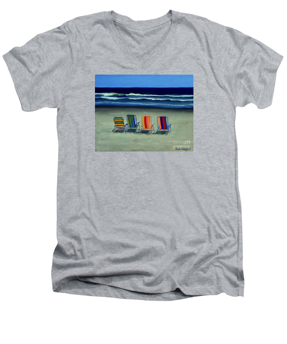 Beach Men's V-Neck T-Shirt featuring the painting Beach Chairs by Paul Walsh