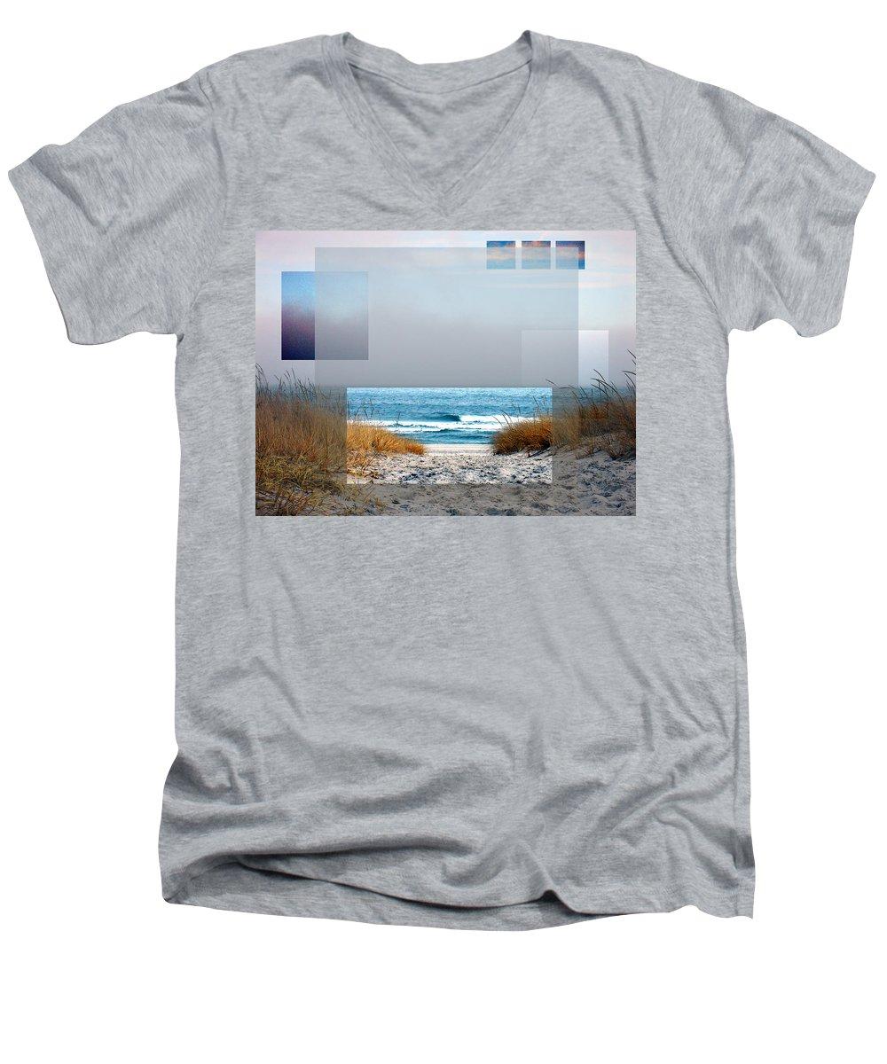 Beach Men's V-Neck T-Shirt featuring the photograph Beach Collage by Steve Karol