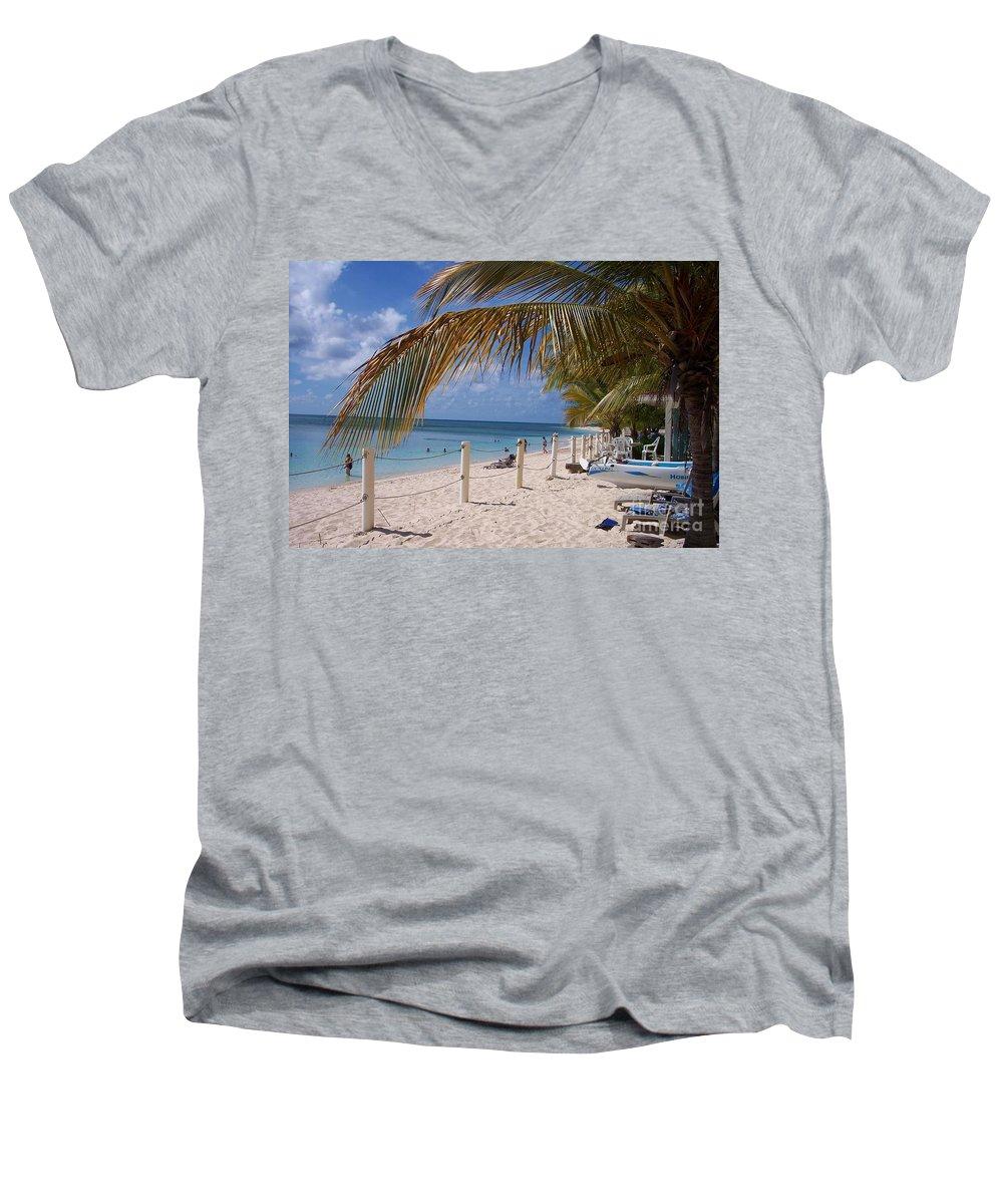 Beach Men's V-Neck T-Shirt featuring the photograph Beach Grand Turk by Debbi Granruth