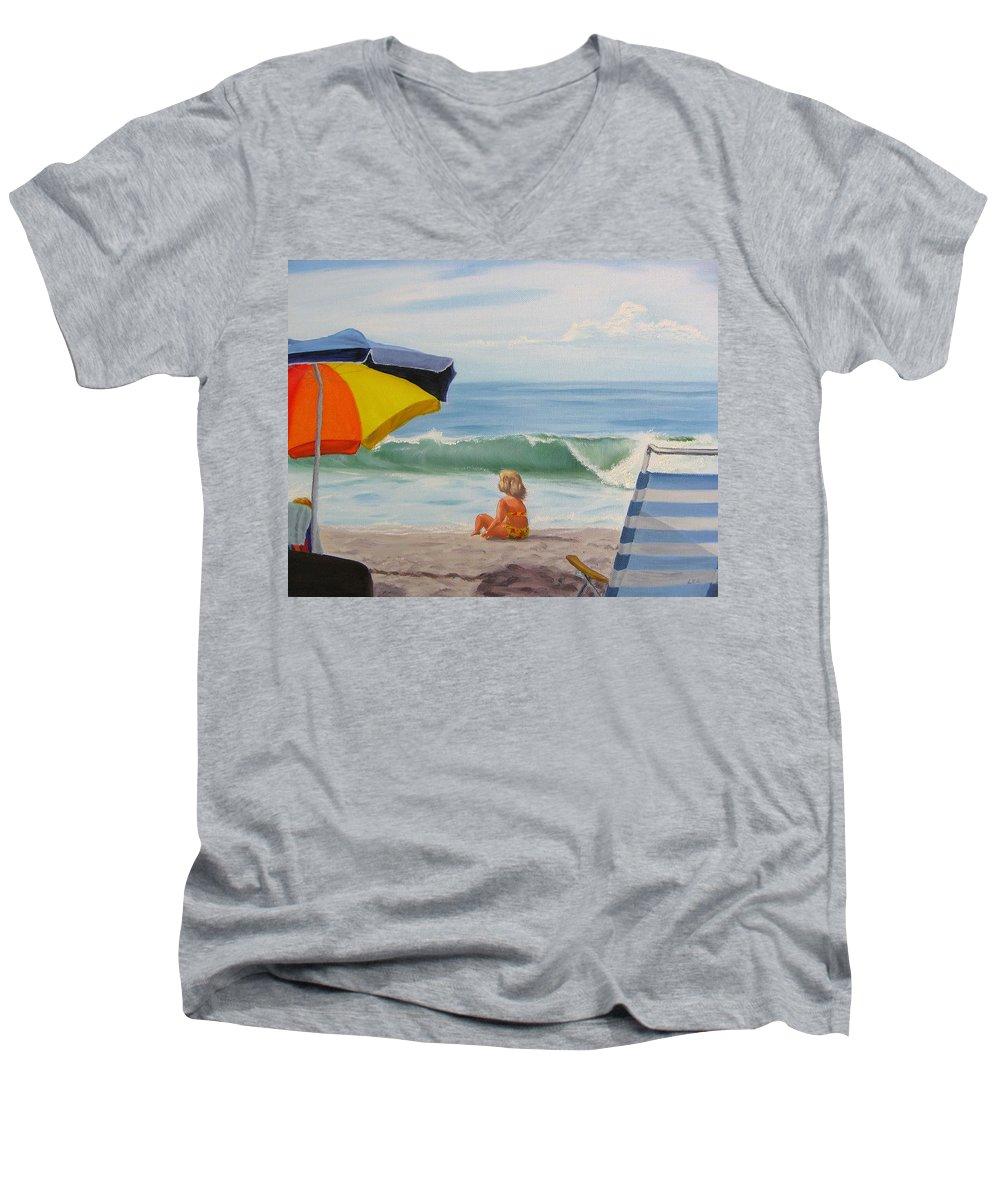 Seascape Men's V-Neck T-Shirt featuring the painting Beach Scene - Childhood by Lea Novak