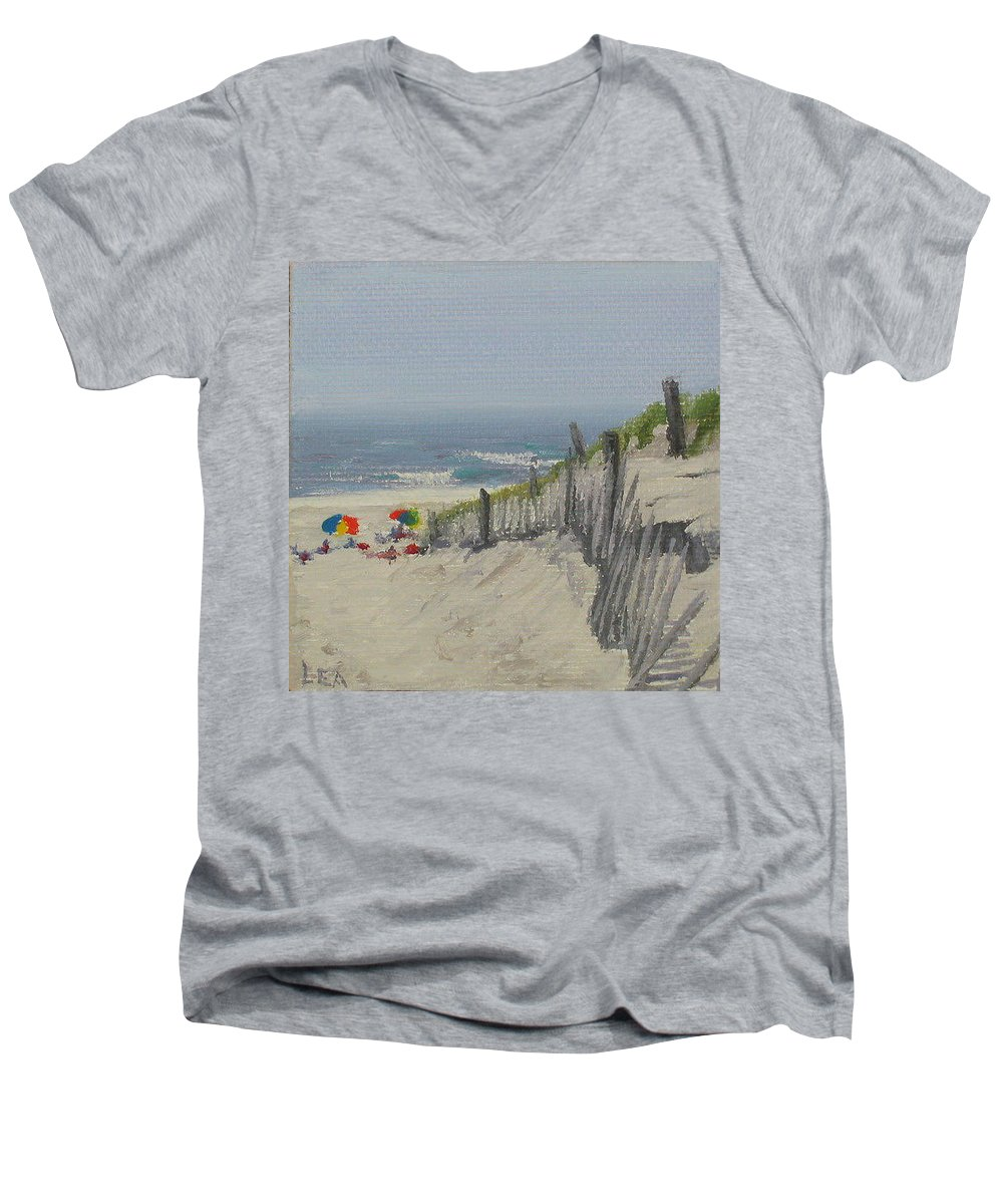 Beach Men's V-Neck T-Shirt featuring the painting Beach Scene Miniature by Lea Novak