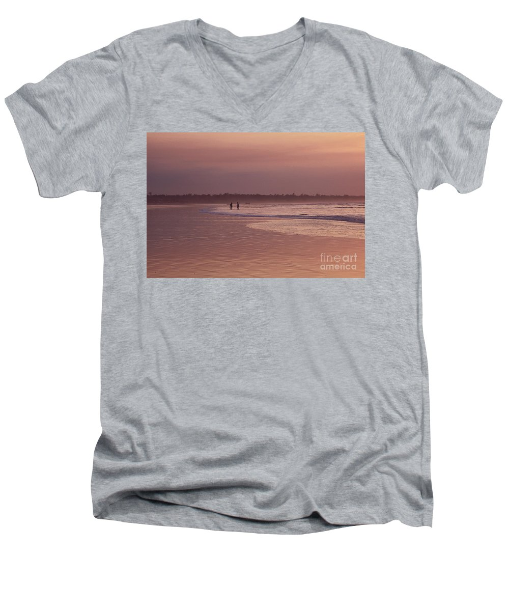 Ecuador Men's V-Neck T-Shirt featuring the photograph Beachcombers by Kathy McClure