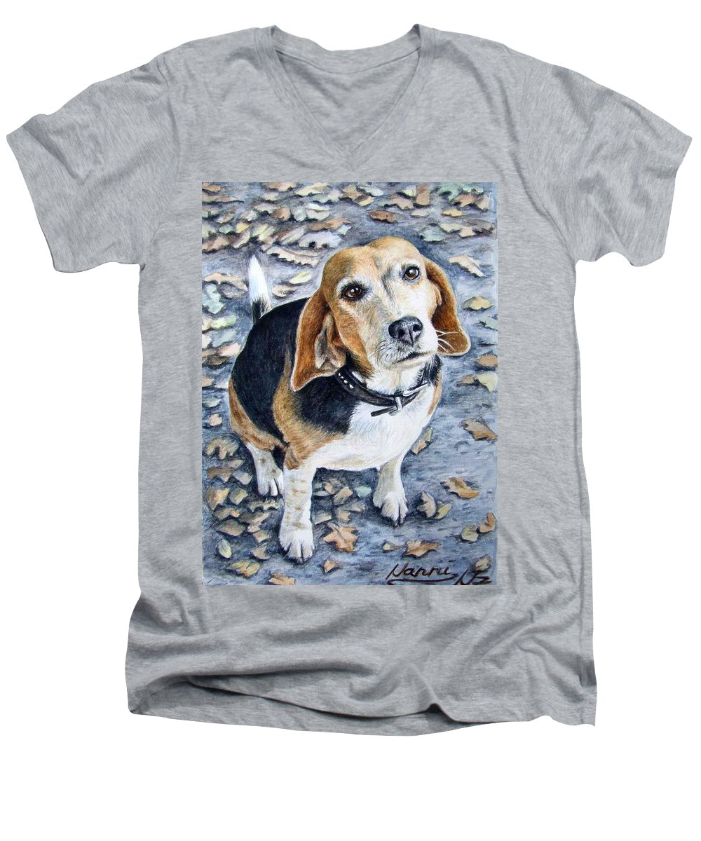 Dog Men's V-Neck T-Shirt featuring the painting Beagle Nanni by Nicole Zeug