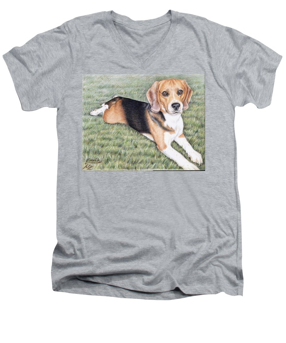 Dog Men's V-Neck T-Shirt featuring the drawing Beagle by Nicole Zeug