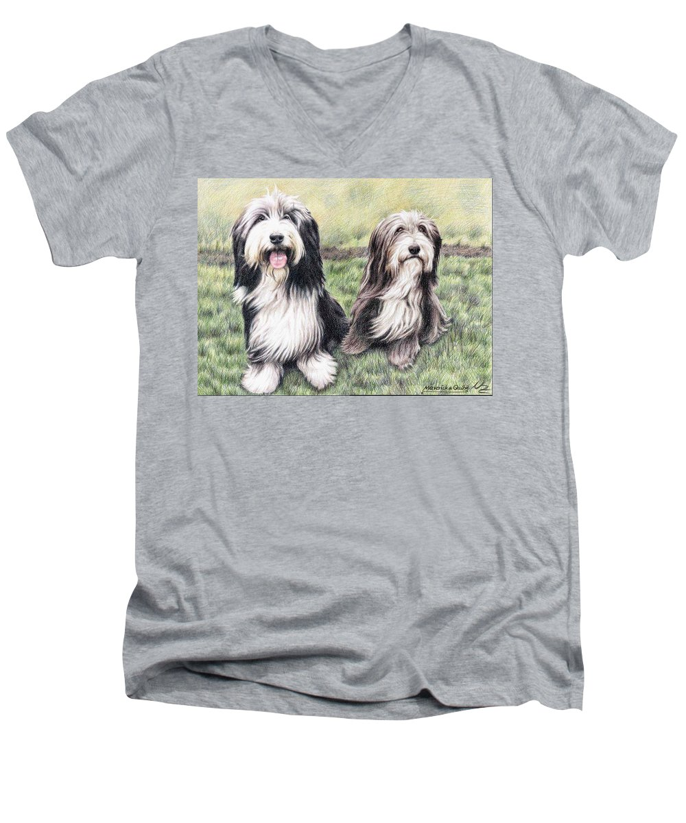 Dogs Men's V-Neck T-Shirt featuring the drawing Bearded Collies by Nicole Zeug