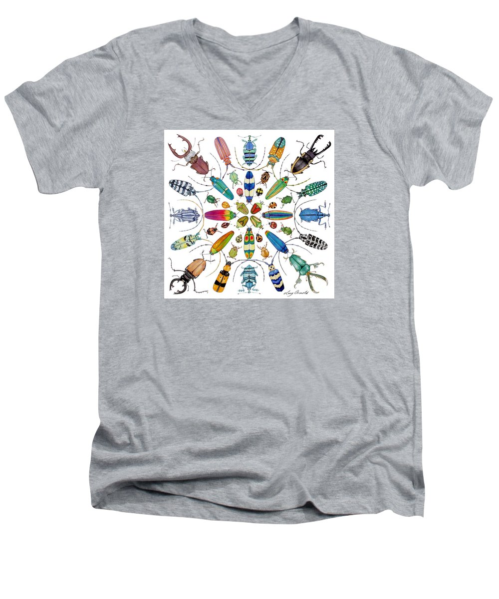Insects Men's V-Neck T-Shirt featuring the painting Beautiful Beetles by Lucy Arnold