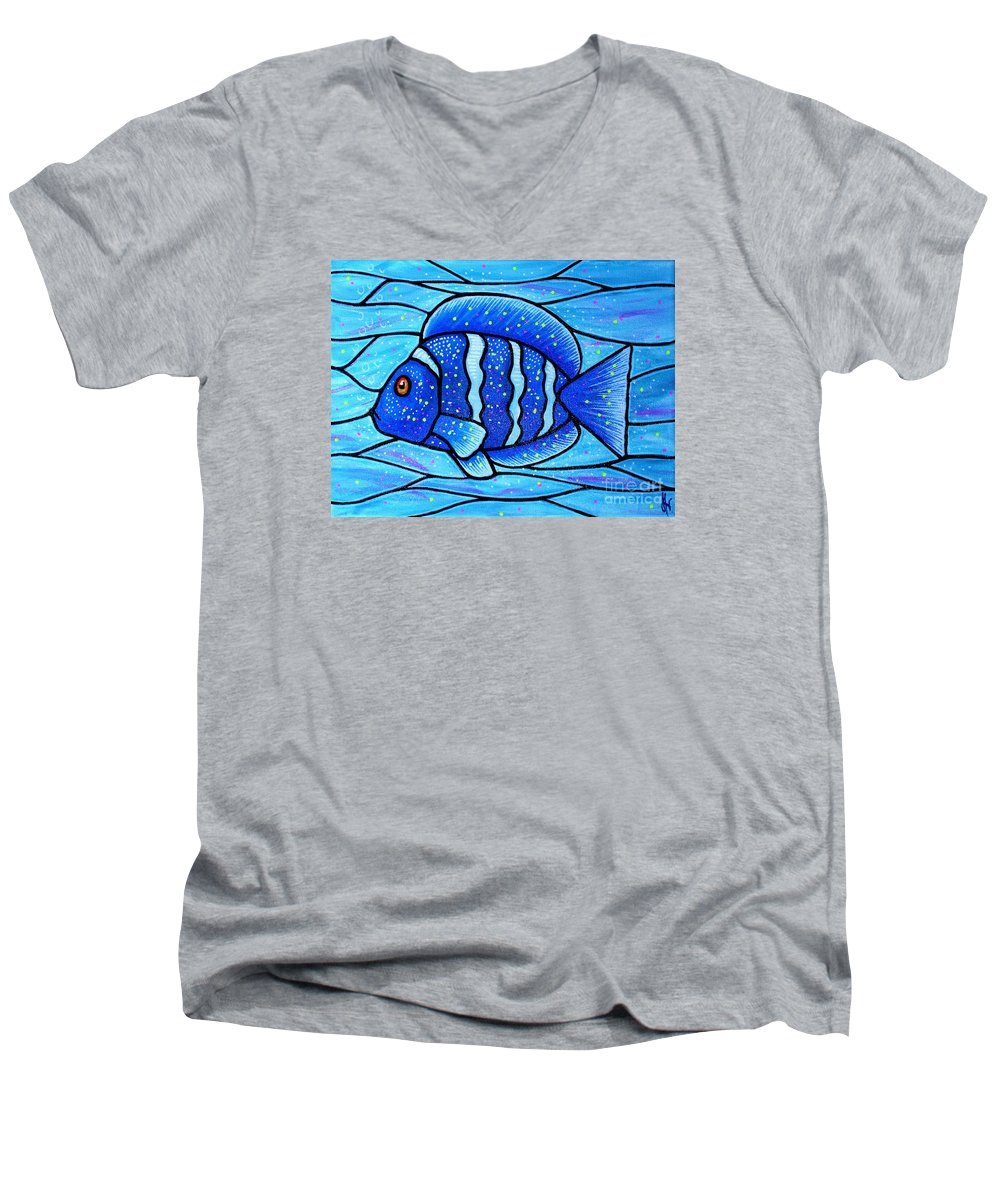 Tropical Fish Men's V-Neck T-Shirt featuring the painting Beckys Blue Tropical Fish by Jim Harris