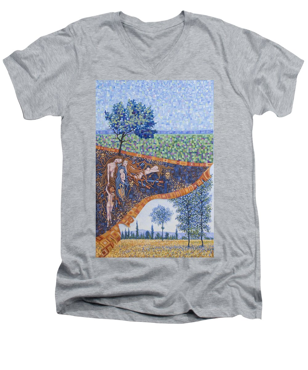 Canvas Men's V-Neck T-Shirt featuring the painting Behind The Canvas by Judy Henninger