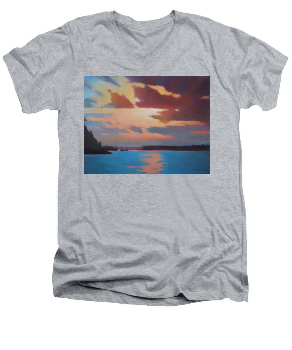 Bermuda Seascape Men's V-Neck T-Shirt featuring the painting Bermuda Sunset by Dianne Panarelli Miller