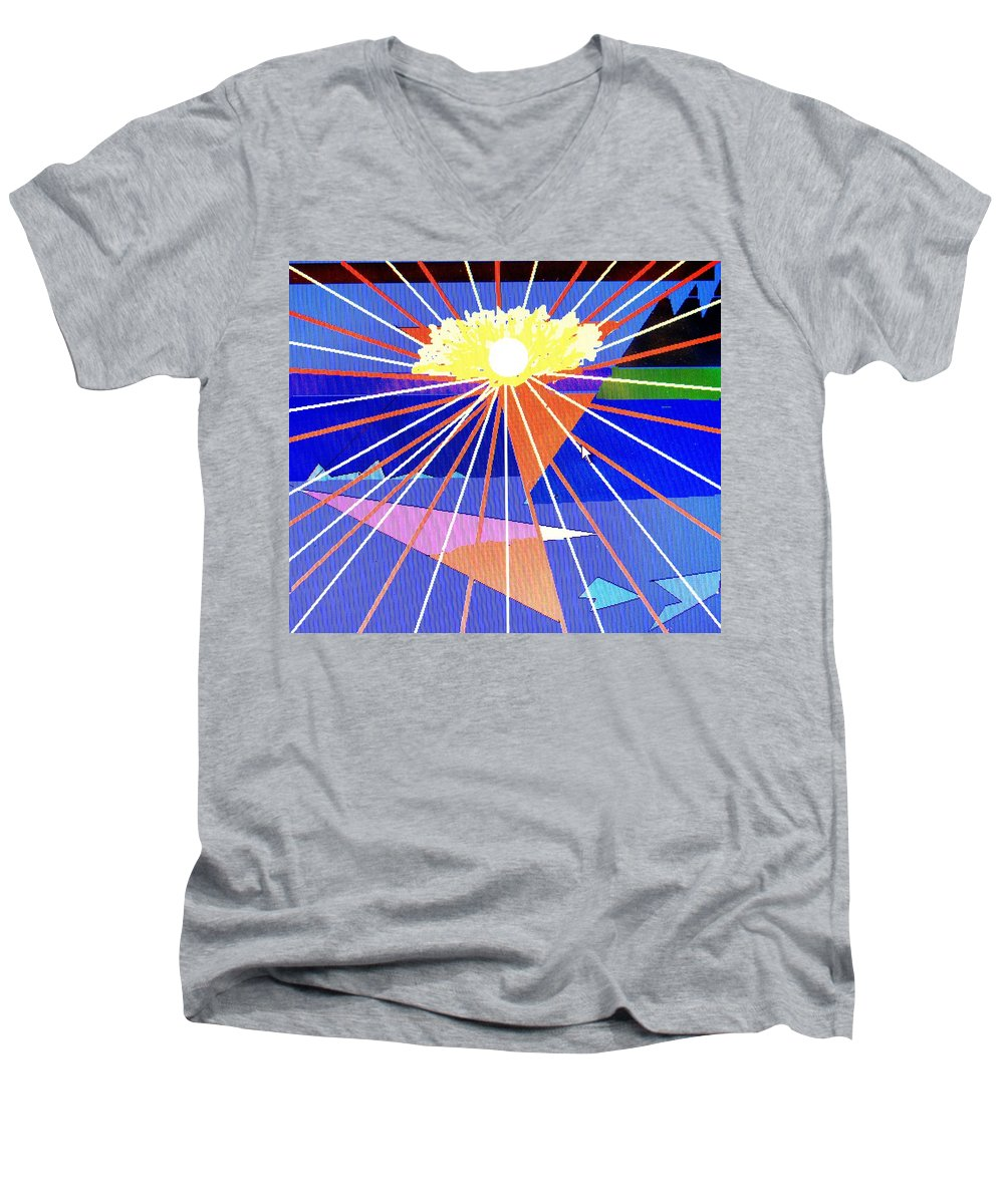 Sunset Men's V-Neck T-Shirt featuring the digital art Bermuda Sunset by Ian MacDonald
