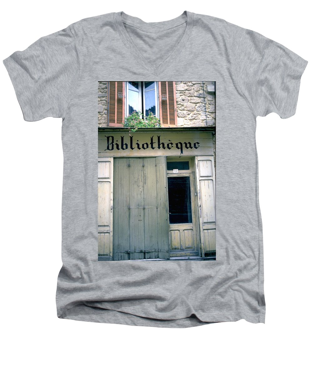 Bibliotheque Men's V-Neck T-Shirt featuring the photograph Bibliotheque by Flavia Westerwelle