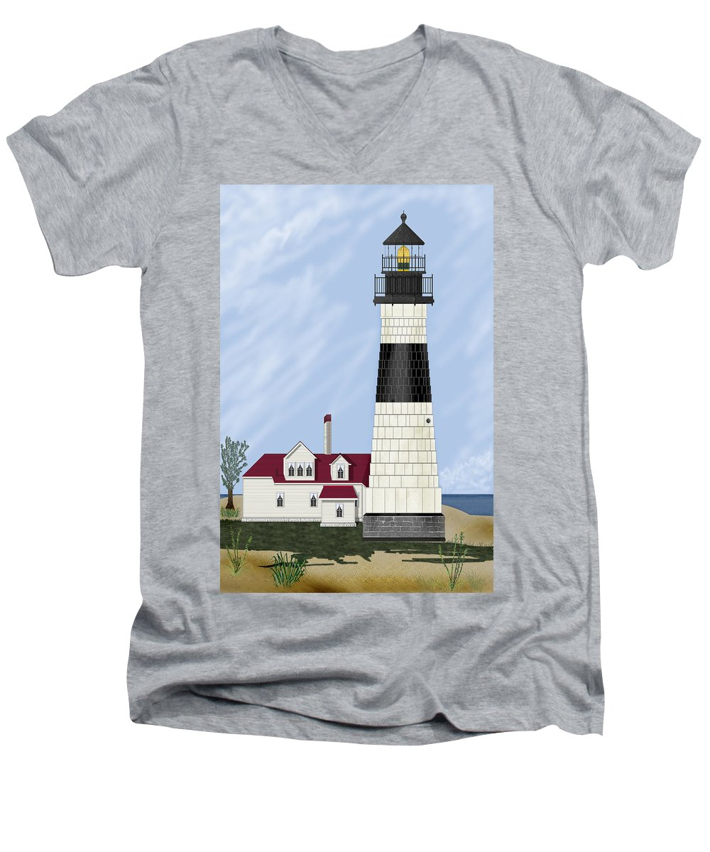 Big Sable Michigan Lighthouse Men's V-Neck T-Shirt featuring the painting Big Sable Michigan by Anne Norskog