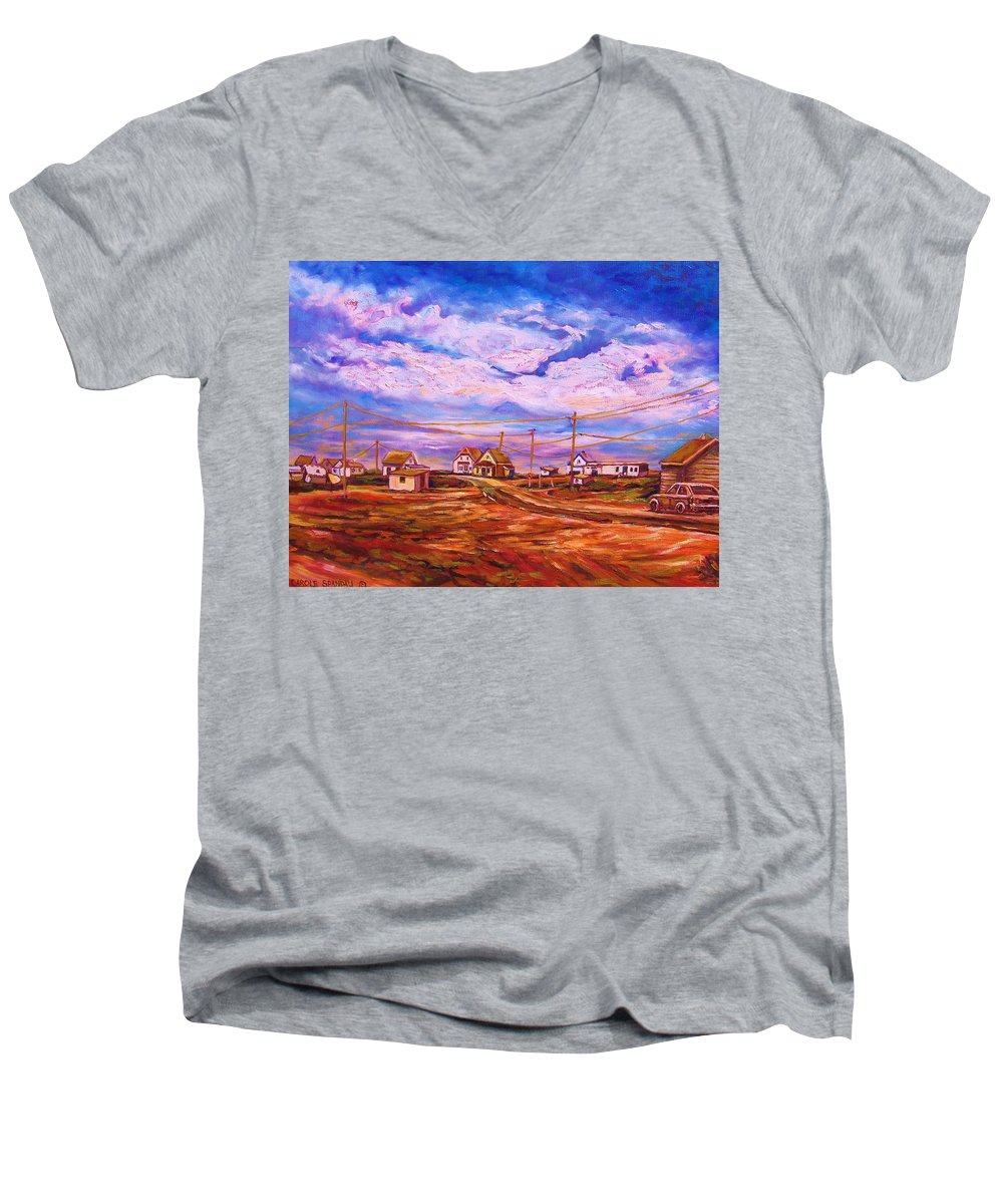 Cloudscapes Men's V-Neck T-Shirt featuring the painting Big Sky Red Earth by Carole Spandau