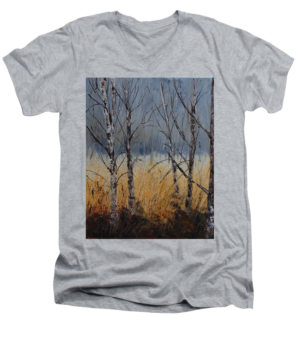 Winter Men's V-Neck T-Shirt featuring the painting Birch Trees by Pol Ledent