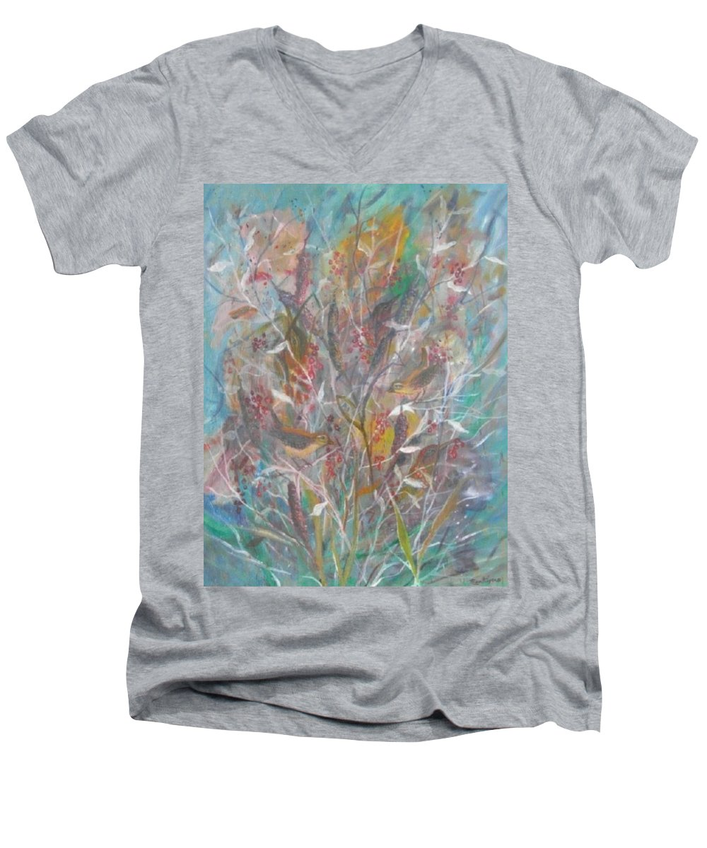 Birds Men's V-Neck T-Shirt featuring the painting Birds In A Bush by Ben Kiger