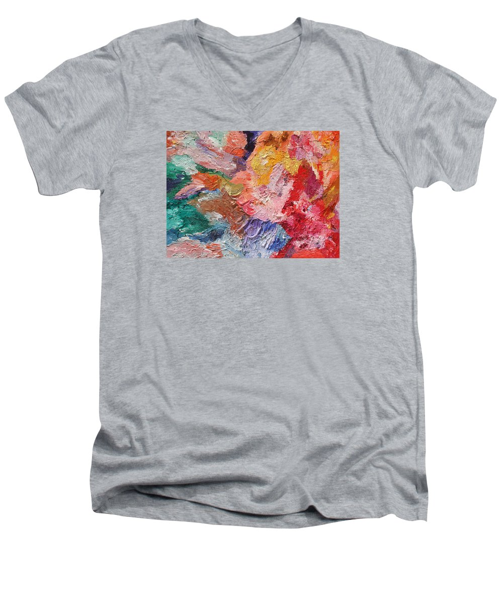 Fusionart Men's V-Neck T-Shirt featuring the painting Birth Of Passion by Ralph White