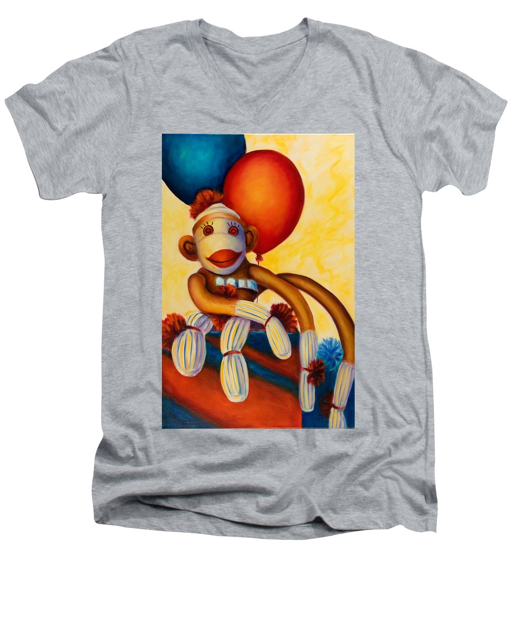 Sock Monkey Brown Men's V-Neck T-Shirt featuring the painting Birthday Made Of Sockies by Shannon Grissom