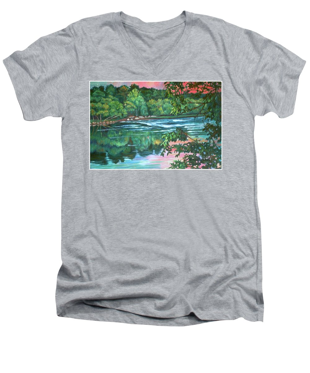 River Men's V-Neck T-Shirt featuring the painting Bisset Park Rapids by Kendall Kessler