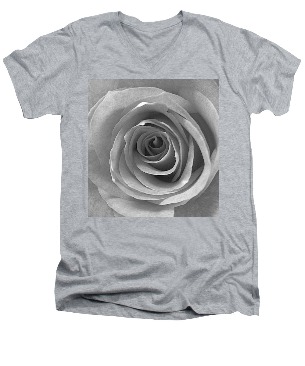 Rose Pedals Men's V-Neck T-Shirt featuring the photograph Black And White by Luciana Seymour