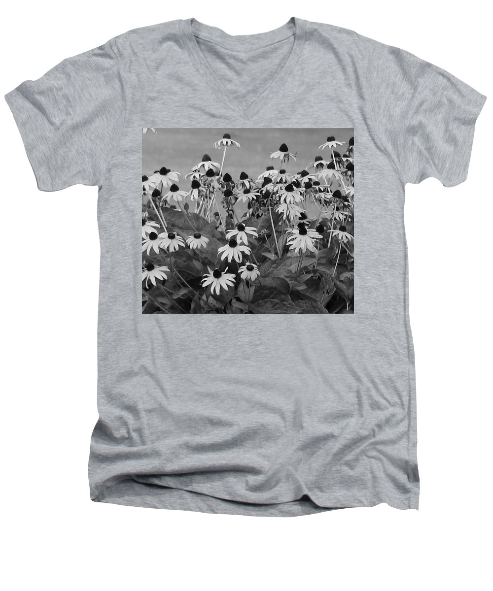 Men's V-Neck T-Shirt featuring the photograph Black And White Susans by Luciana Seymour
