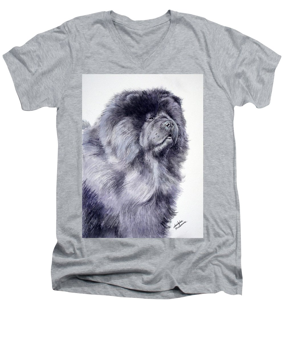 Dog Men's V-Neck T-Shirt featuring the painting Black Chow Chow by Christopher Shellhammer