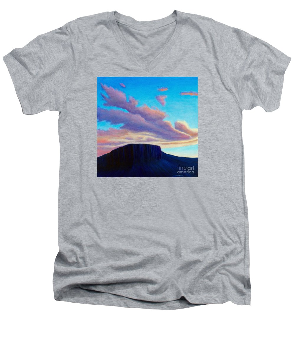 Landscape Men's V-Neck T-Shirt featuring the painting Black Mesa Sunset by Brian Commerford