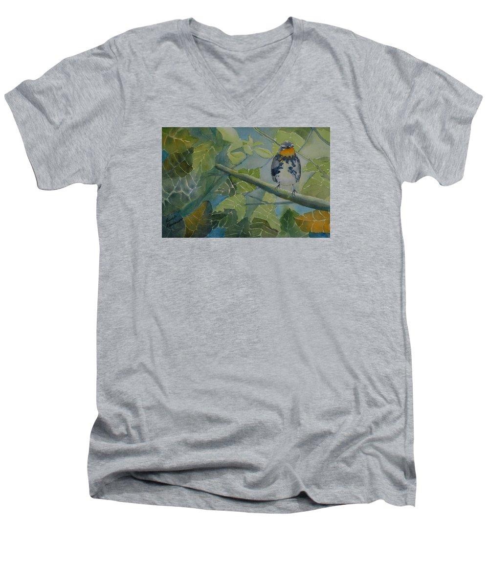 Bird Men's V-Neck T-Shirt featuring the painting Blackburnian Warbler I by Ruth Kamenev