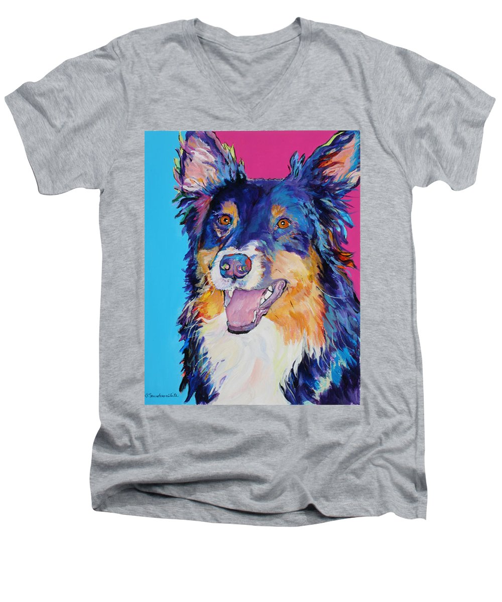 Dog Men's V-Neck T-Shirt featuring the painting Blackjack by Pat Saunders-White