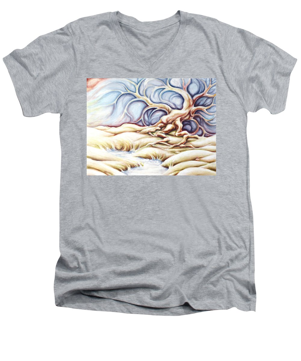 Acrylic Painting Men's V-Neck T-Shirt featuring the painting Blonde And Blue by Jennifer McDuffie