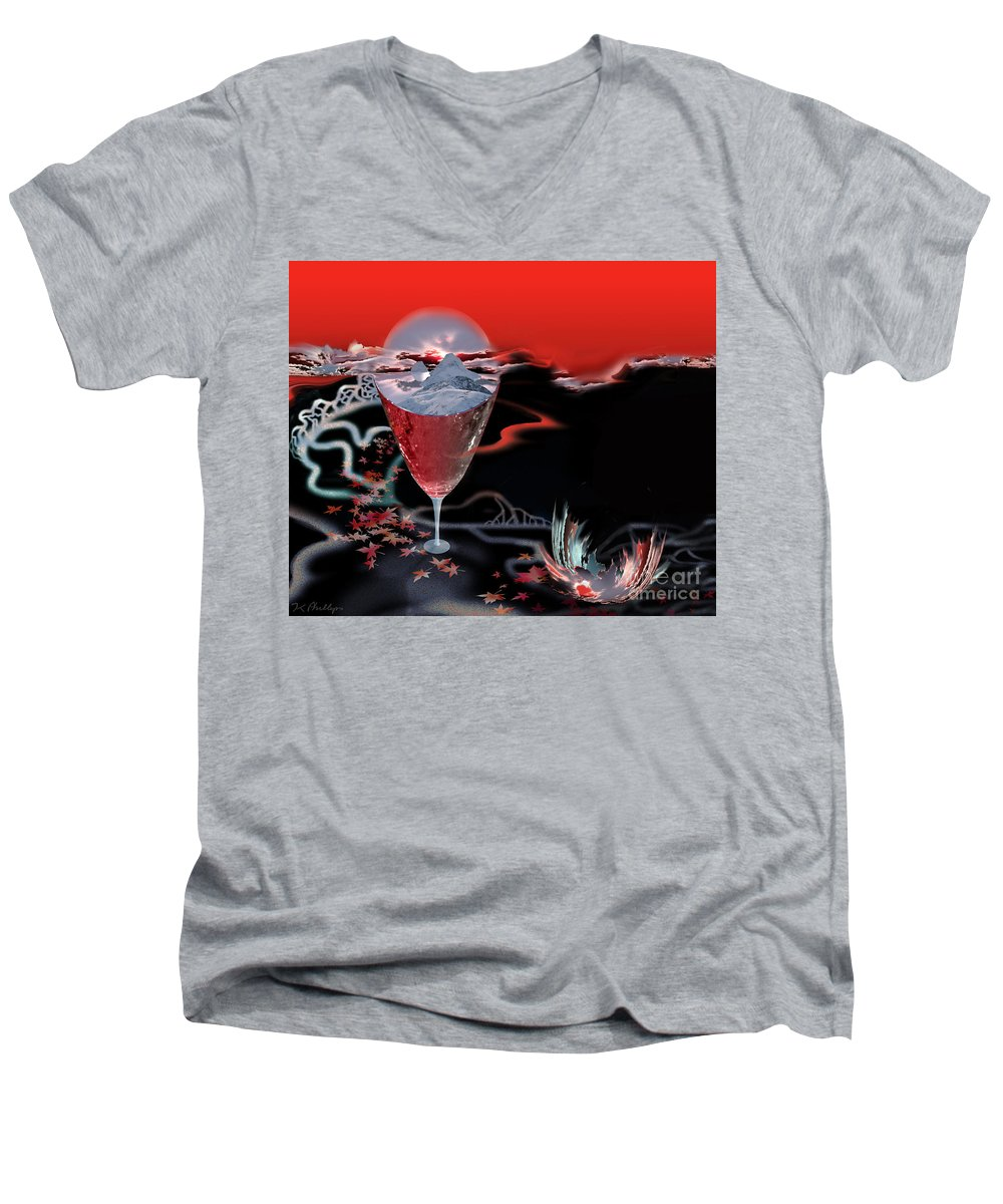 Blood Men's V-Neck T-Shirt featuring the digital art Blood Red From Pure White by Jennifer Kathleen Phillips