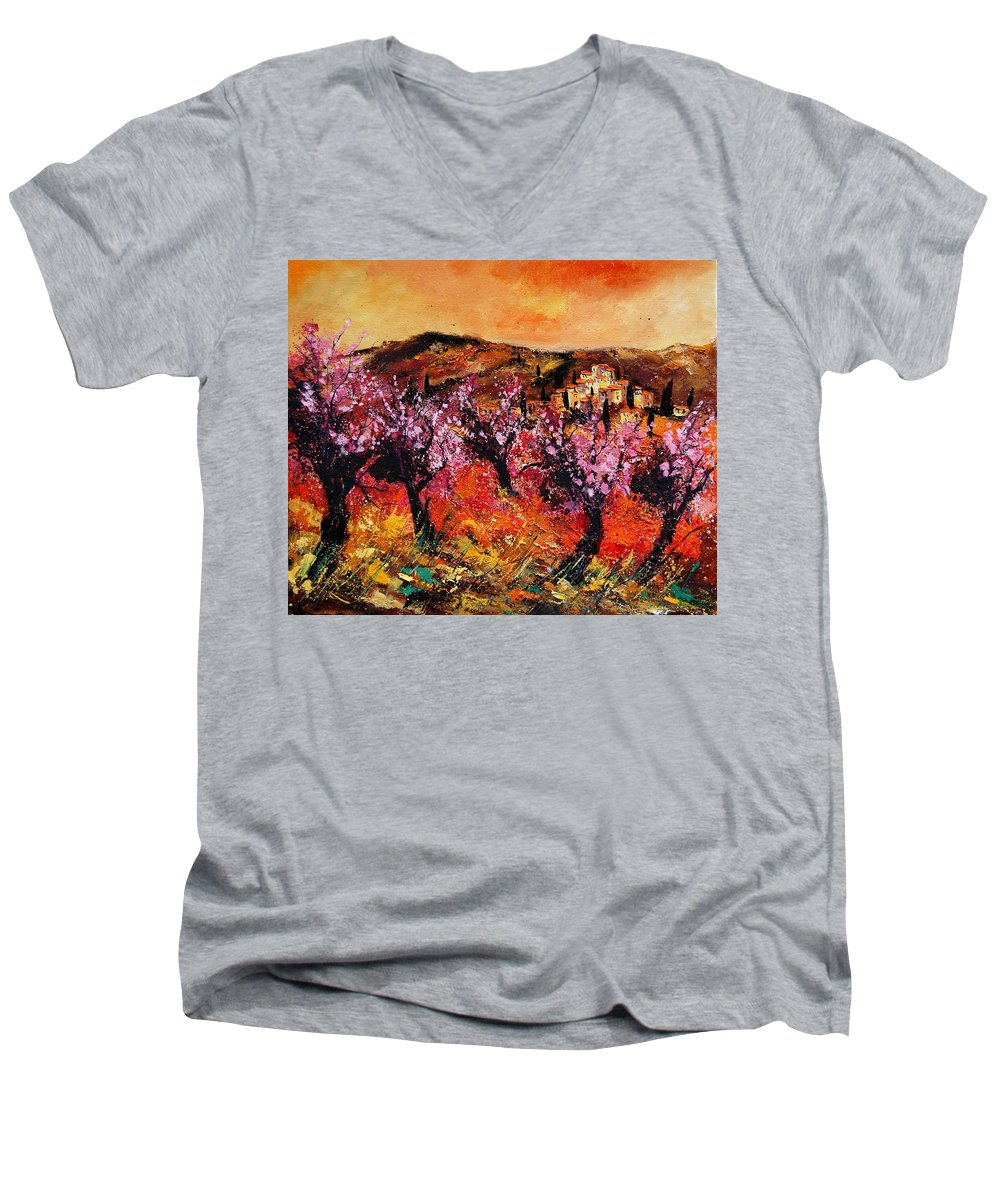 Provence Cherrytree Summer Spring Men's V-Neck T-Shirt featuring the painting Blooming Cherry Trees by Pol Ledent