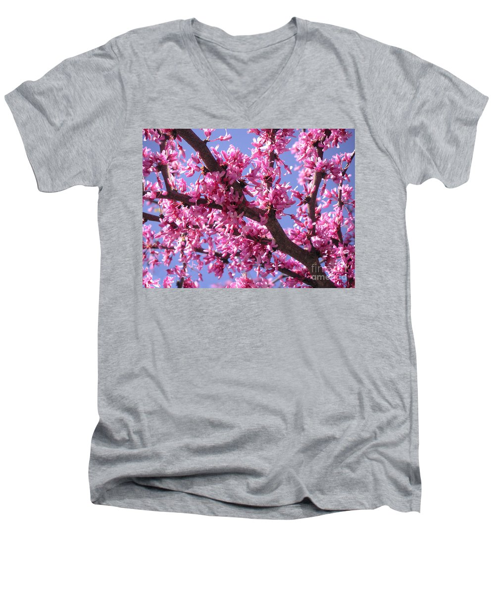 Nature Men's V-Neck T-Shirt featuring the photograph Blooming Red Buds by Lucyna A M Green