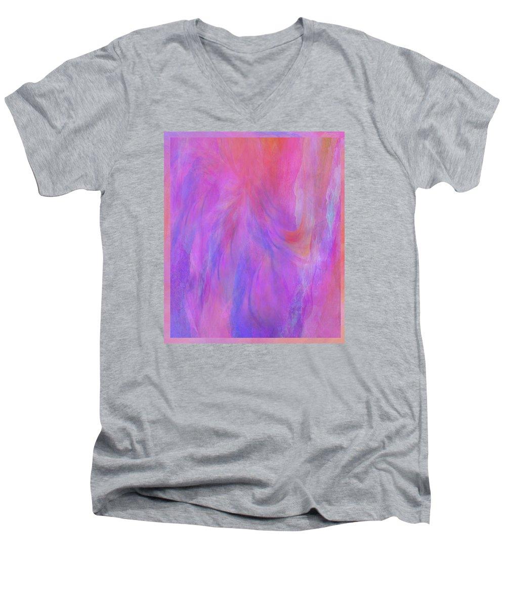 Digital Art Men's V-Neck T-Shirt featuring the digital art Blossom by Linda Murphy