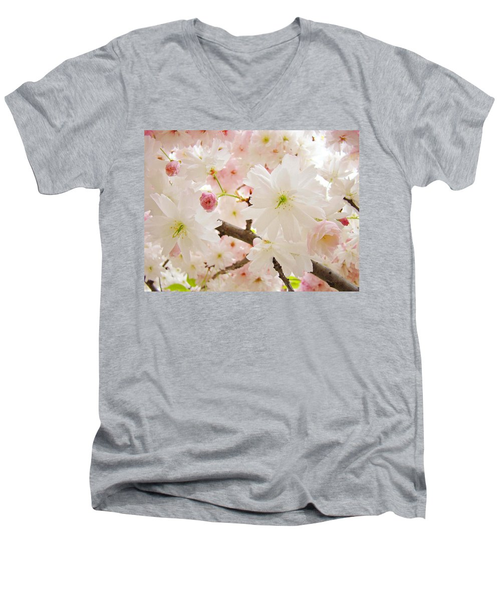 Nature Men's V-Neck T-Shirt featuring the photograph Blossoms Art Print 53 Sunlit Pink Tree Blossoms Macro Springtime Blue Sky by Baslee Troutman
