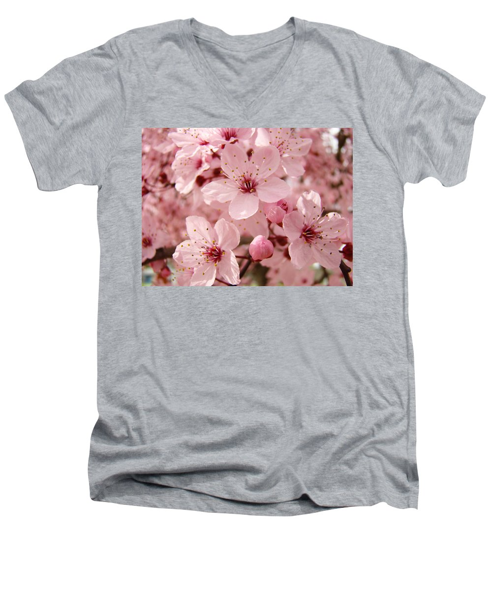 Nature Men's V-Neck T-Shirt featuring the photograph Blossoms Art Prints 63 Pink Blossoms Spring Tree Blossoms by Baslee Troutman