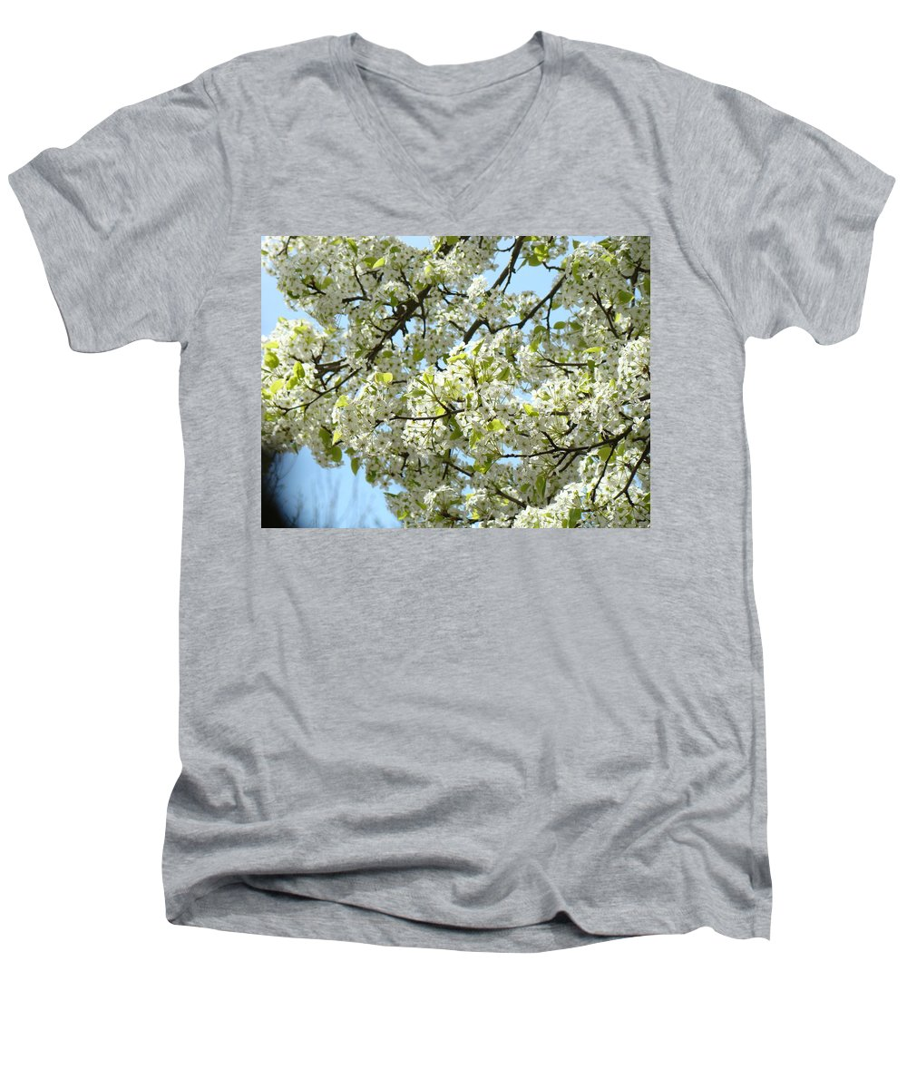 �blossoms Artwork� Men's V-Neck T-Shirt featuring the photograph Blossoms Whtie Tree Blossoms 29 Nature Art Prints Spring Art by Baslee Troutman