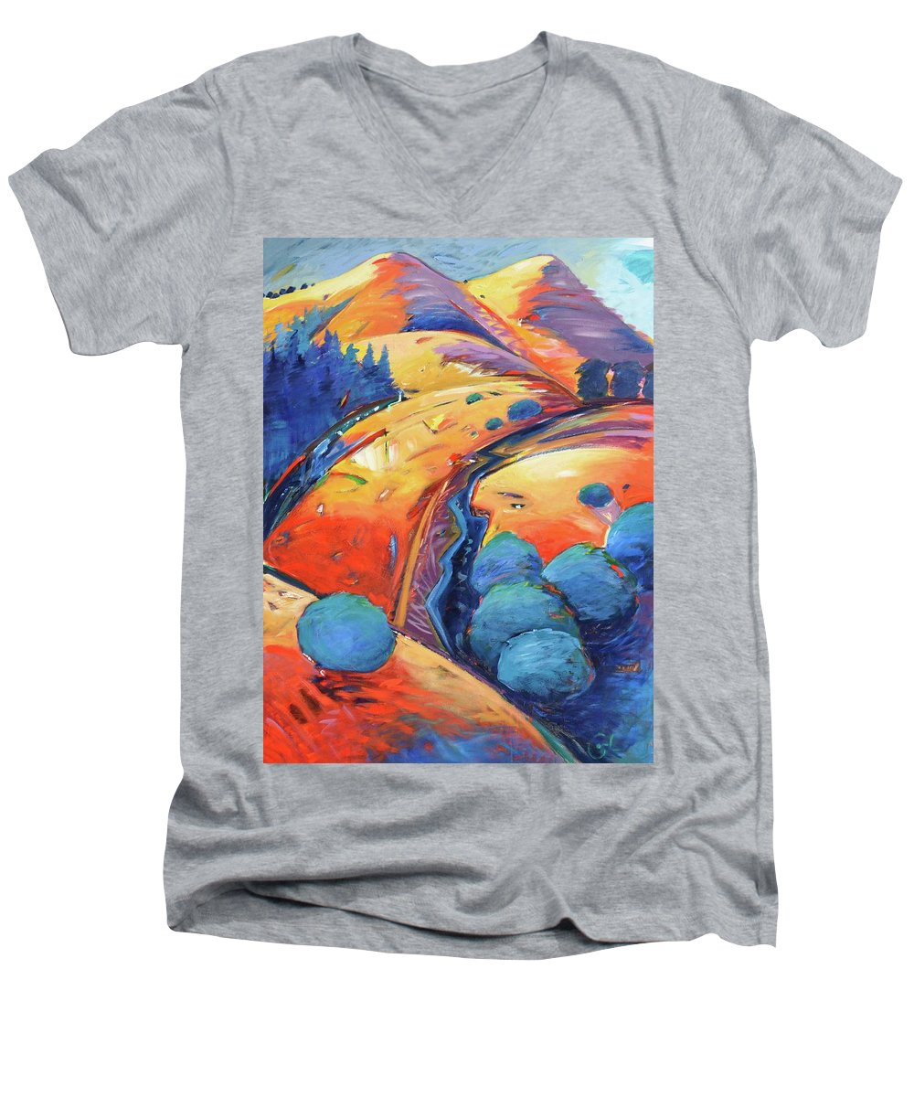 Hills Men's V-Neck T-Shirt featuring the painting Blue And Gold by Gary Coleman