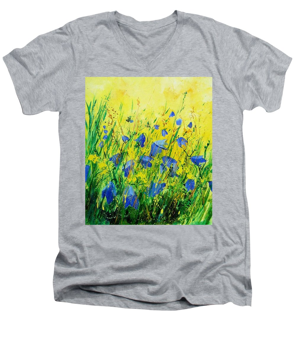 Poppies Men's V-Neck T-Shirt featuring the painting Blue Bells by Pol Ledent
