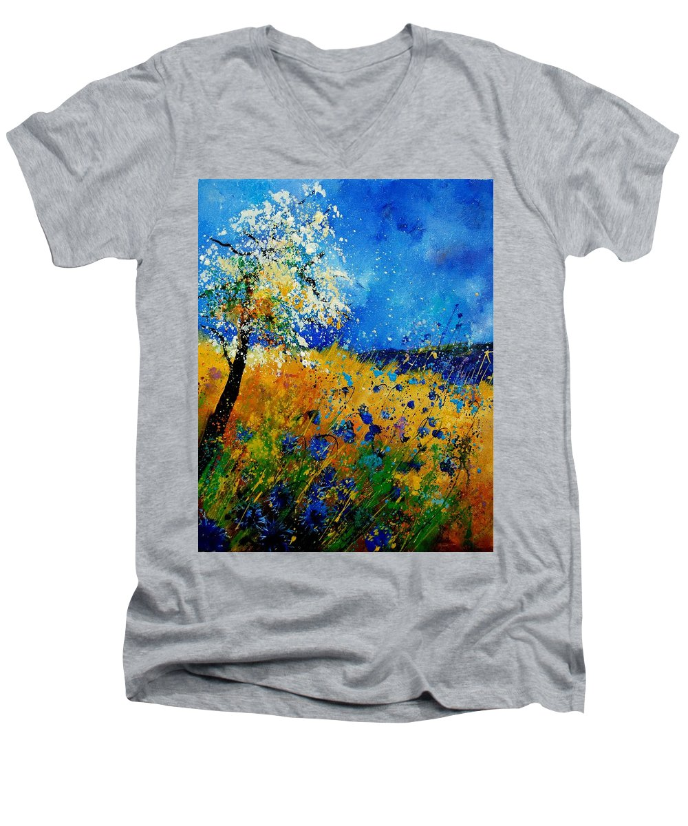 Poppies Men's V-Neck T-Shirt featuring the painting Blue Cornflowers 450108 by Pol Ledent