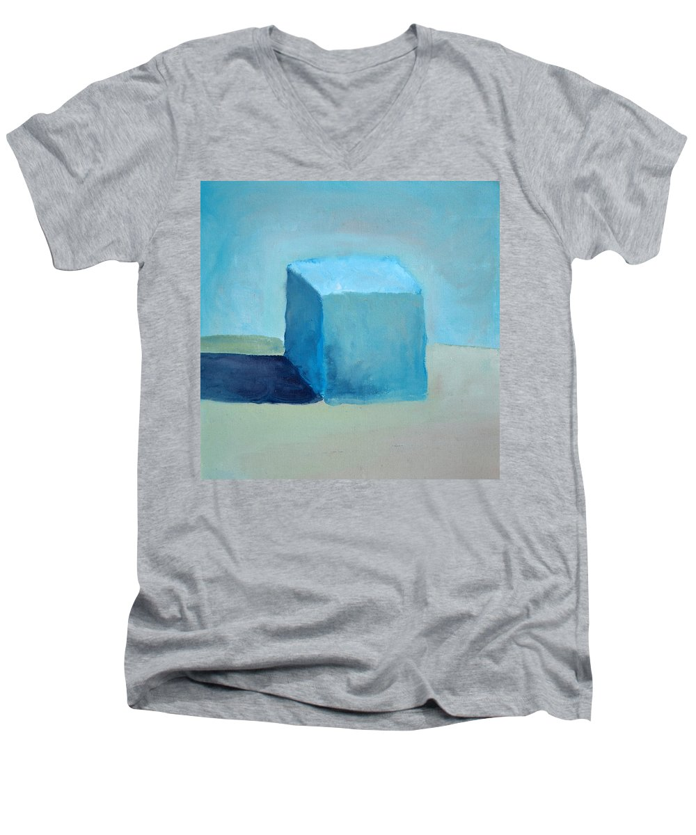 Blue Men's V-Neck T-Shirt featuring the painting Blue Cube Still Life by Michelle Calkins