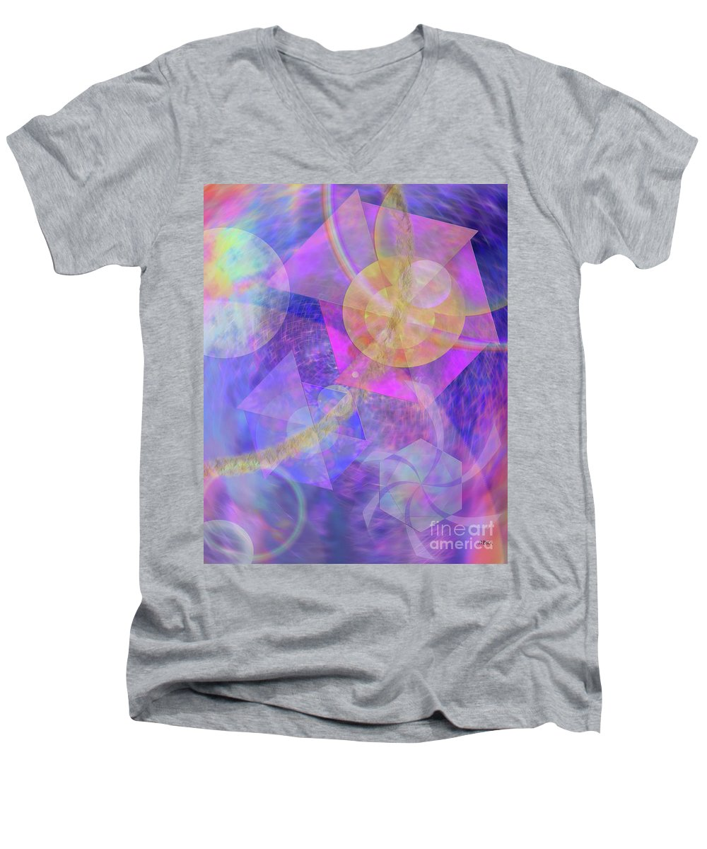 Blue Expectations Men's V-Neck T-Shirt featuring the digital art Blue Expectations by John Beck