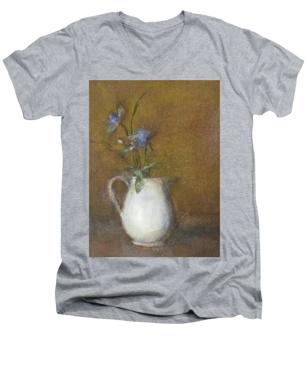 Floral Still Life Men's V-Neck T-Shirt featuring the painting Blue Flower by Joan DaGradi