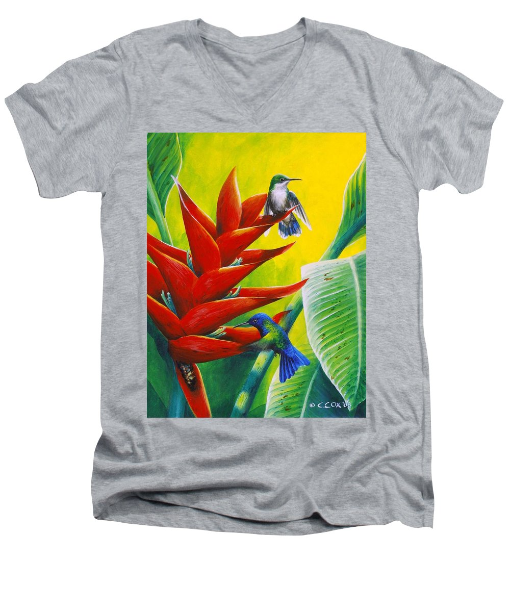Chris Cox Men's V-Neck T-Shirt featuring the painting Blue-headed Hummingbirds And Heliconia by Christopher Cox