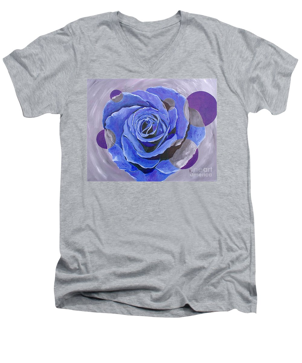 Acrylic Men's V-Neck T-Shirt featuring the painting Blue Ice by Herschel Fall