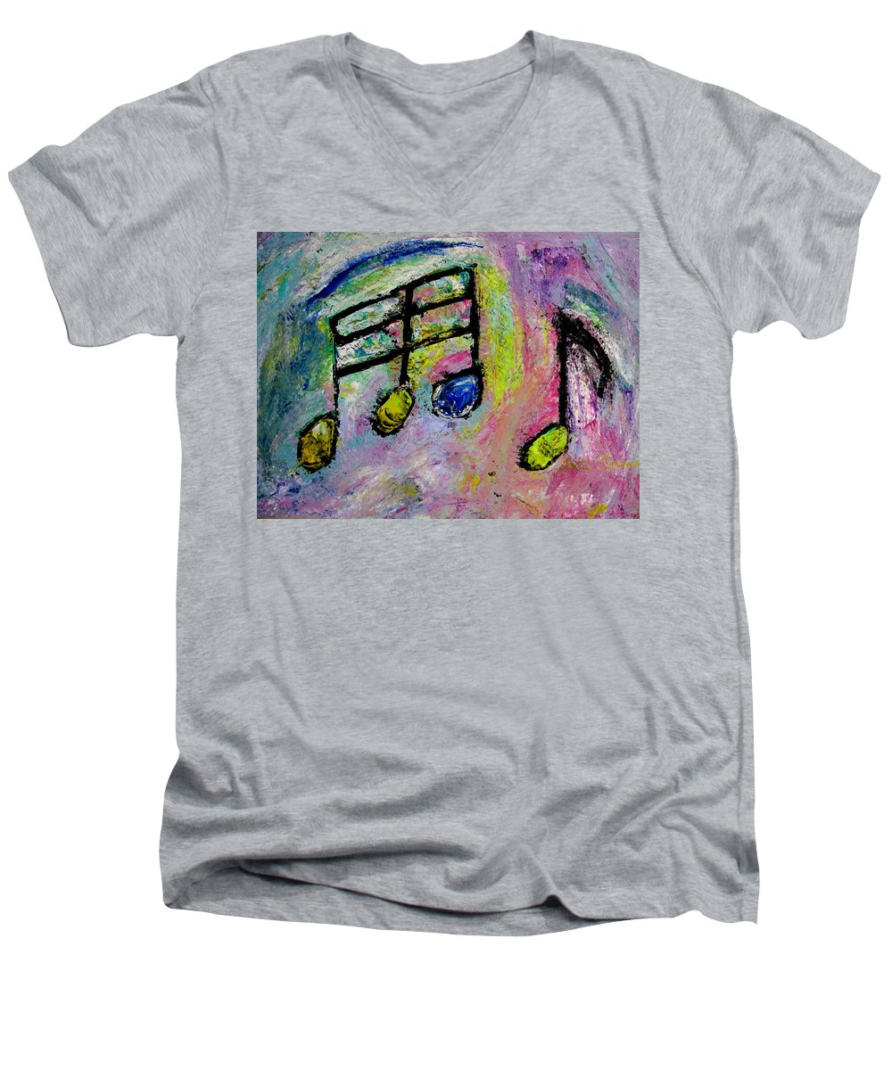 Impressionist Men's V-Neck T-Shirt featuring the painting Blue Note by Anita Burgermeister