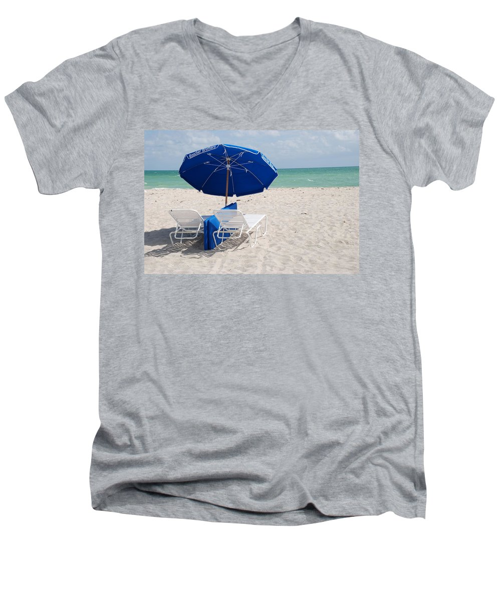 Sea Scape Men's V-Neck T-Shirt featuring the photograph Blue Paradise Umbrella by Rob Hans
