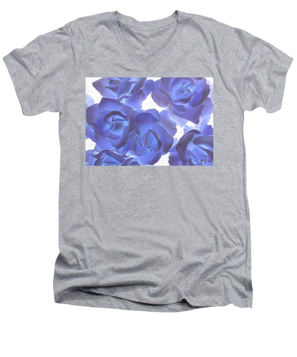 Blue Men's V-Neck T-Shirt featuring the photograph Blue Roses by Tom Reynen