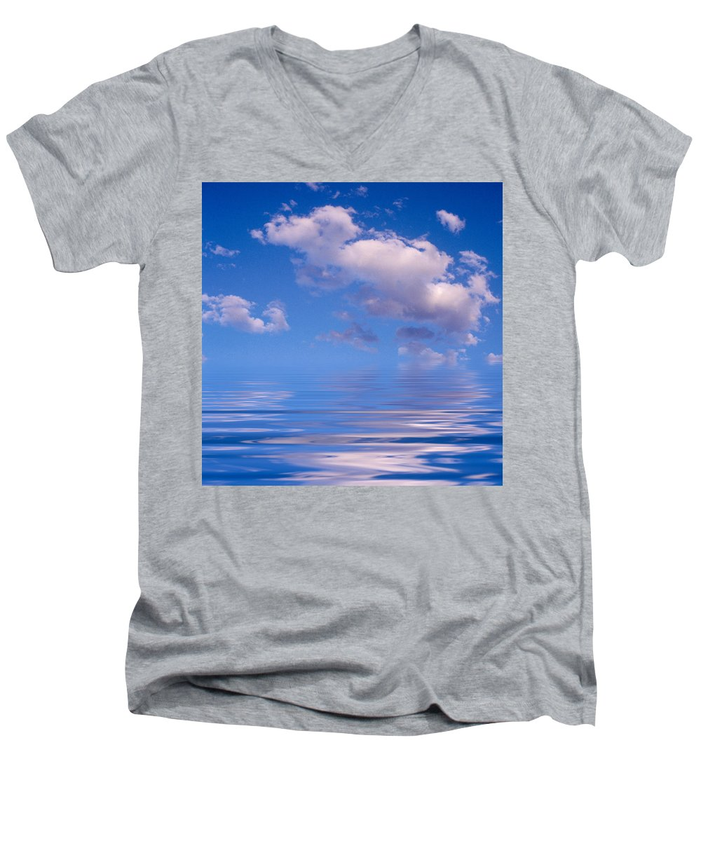 Original Art Men's V-Neck T-Shirt featuring the photograph Blue Sky Reflections by Jerry McElroy