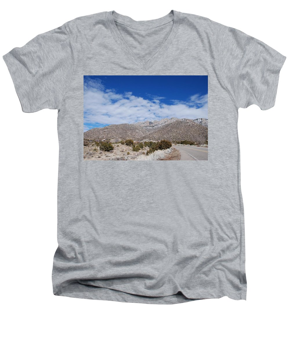 Sandia Mountains Men's V-Neck T-Shirt featuring the photograph Blue Skys Over The Sandias by Rob Hans