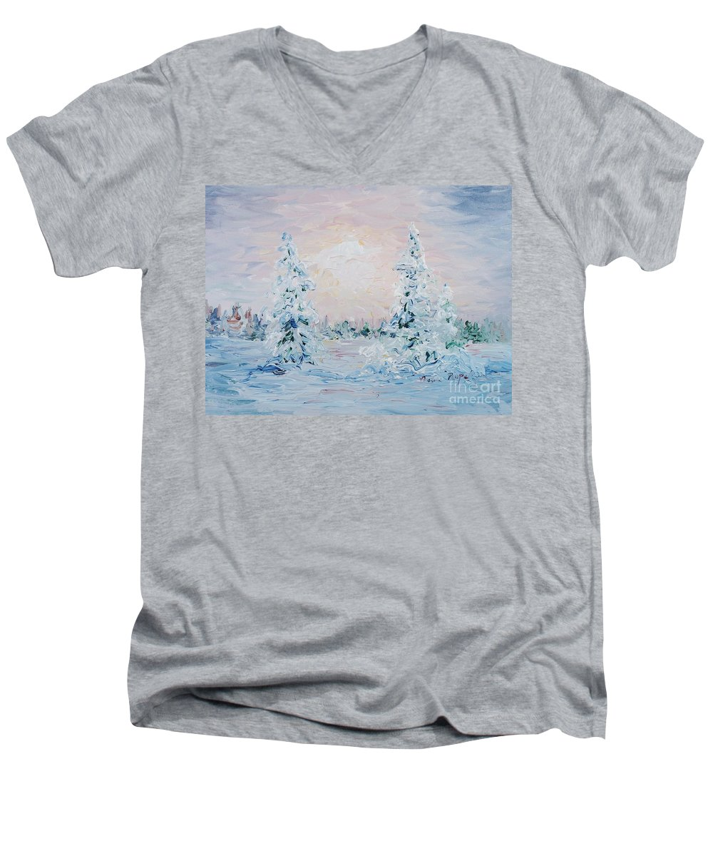 Landscape Men's V-Neck T-Shirt featuring the painting Blue Winter by Nadine Rippelmeyer